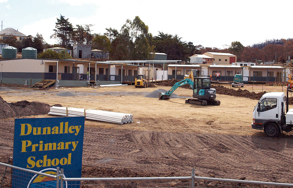 construction of the temporary Dunalley primary school